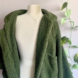 Zaful Olive Green Teddy Jacket